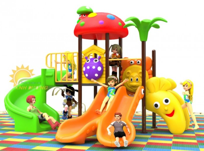 Các bộ liên hoàn cầu trượt trẻ em cho trường mầm non, sân chơi, công viên giá cực SỐC13