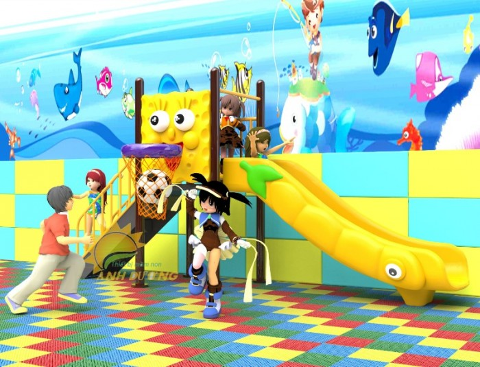 Các bộ liên hoàn cầu trượt trẻ em cho trường mầm non, sân chơi, công viên giá cực SỐC14