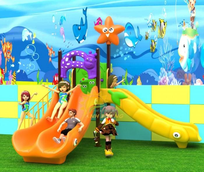 Các bộ liên hoàn cầu trượt trẻ em cho trường mầm non, sân chơi, công viên giá cực SỐC12