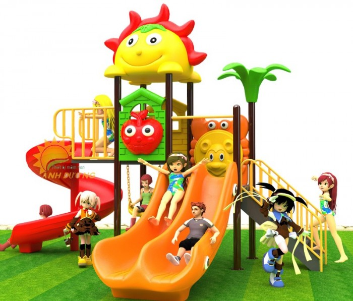 Các bộ liên hoàn cầu trượt trẻ em cho trường mầm non, sân chơi, công viên giá cực SỐC19