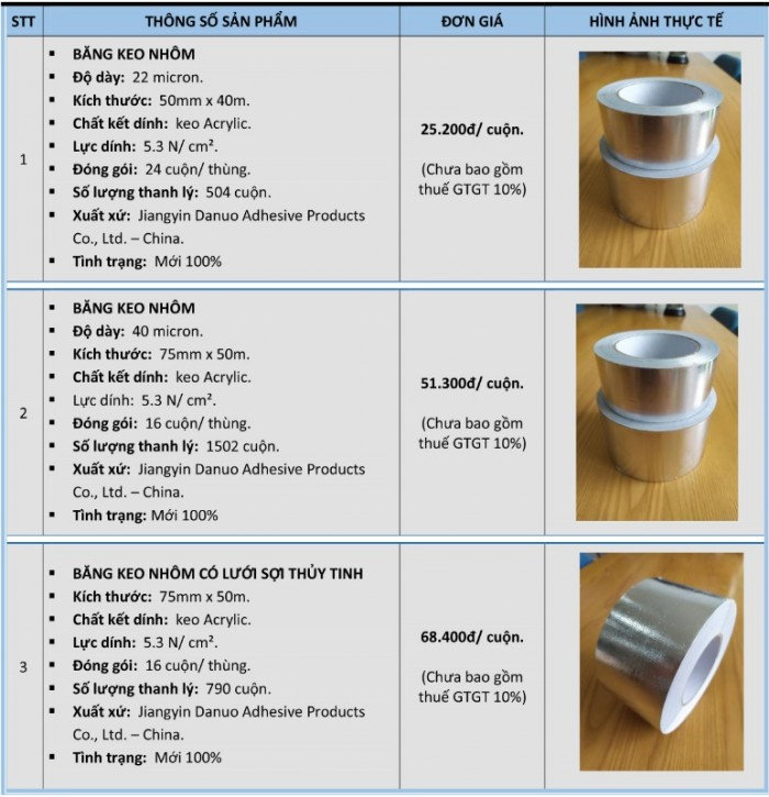 bảng giá các loại băng keo nhôm chịu nhiệt3