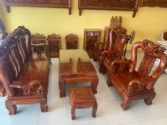 Bộ bàn ghế chạm đào gỗ hương loang tuyển chọn, tay 14, 6 mó5