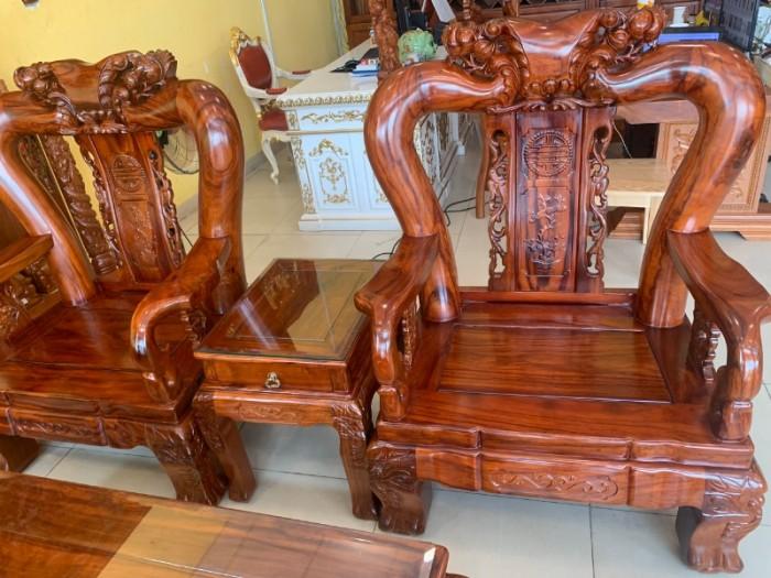 Bộ bàn ghế chạm đào gỗ hương loang tuyển chọn, tay 14, 6 mó2