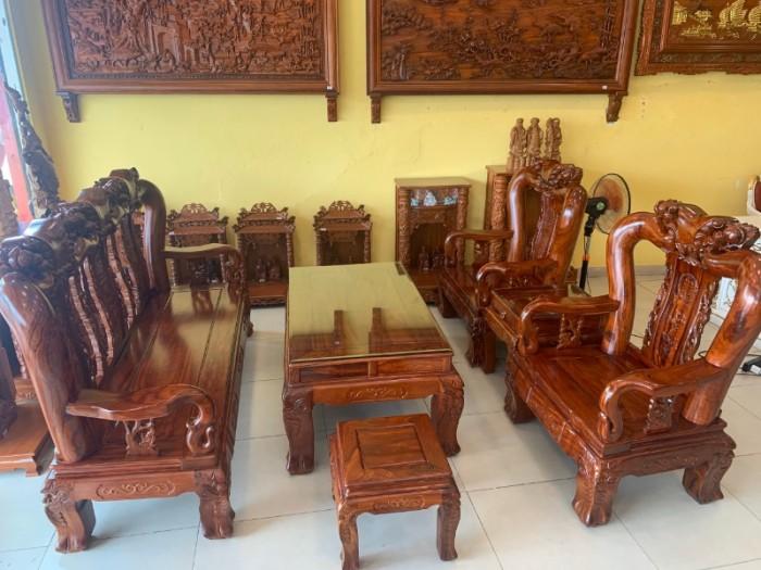 Bộ bàn ghế chạm đào gỗ hương loang tuyển chọn, tay 14, 6 mó1
