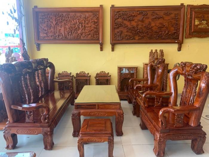 Bộ bàn ghế chạm đào gỗ hương loang tuyển chọn, tay 14, 6 mó7