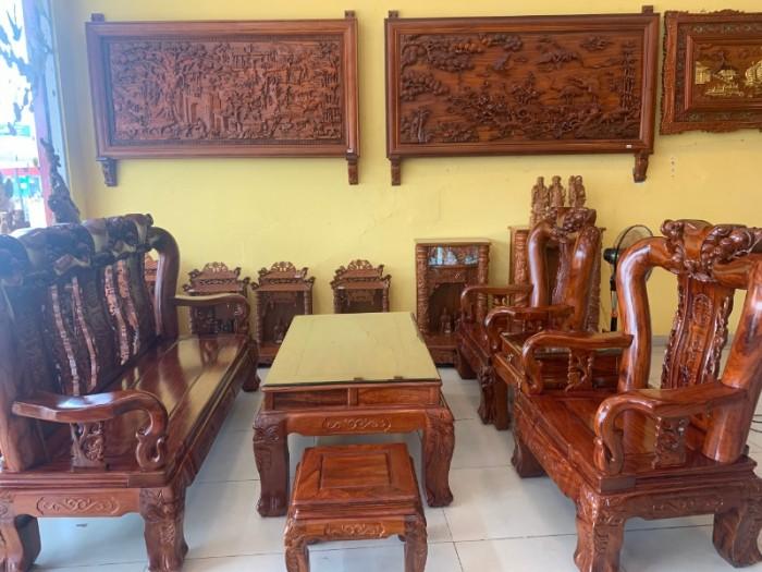 Bộ bàn ghế chạm đào gỗ hương loang tuyển chọn, tay 14, 6 mó4