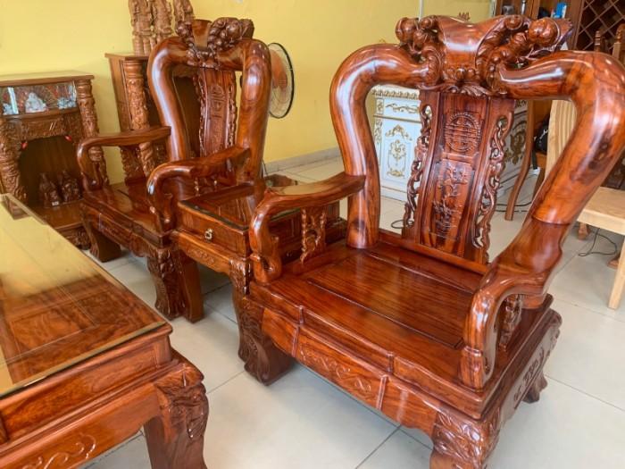 Bộ bàn ghế chạm đào gỗ hương loang tuyển chọn, tay 14, 6 mó6