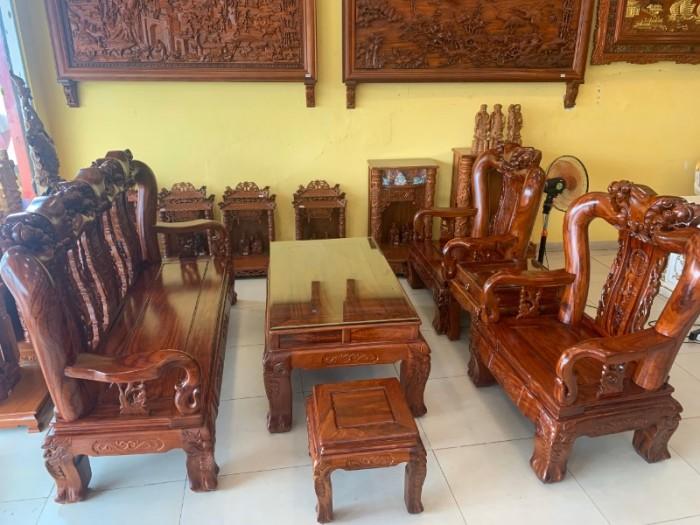 Bộ bàn ghế chạm đào gỗ hương loang tuyển chọn, tay 14, 6 mó3