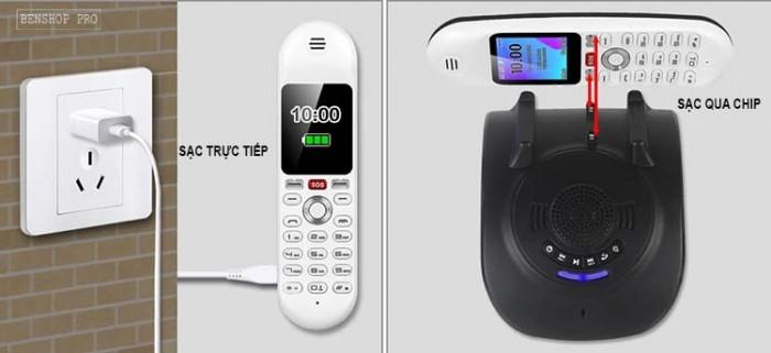 Điện thoại cố định 2 sim, sạc pin cho smartphone, tích hợp loa bluetooth Mafam M301