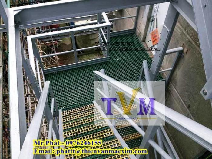 Sàn lót lối đi lại trên mái nhà xưởng không gỉ sét, sàn frp grating4