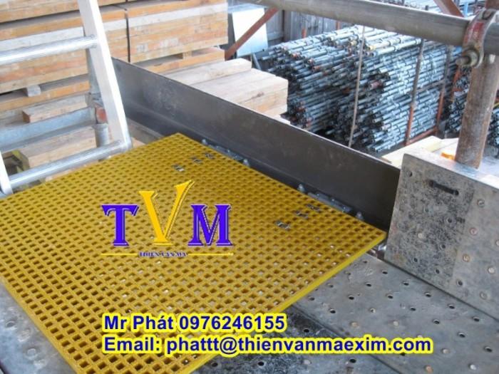 Sàn lót lối đi lại trên mái nhà xưởng không gỉ sét, sàn frp grating5