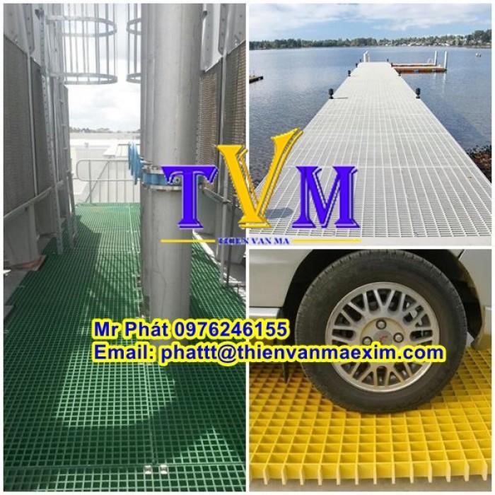 Tấm sàn frp grating, tấm sàn ô lưới sợi thủy tinh, sàn lót kháng hóa chất