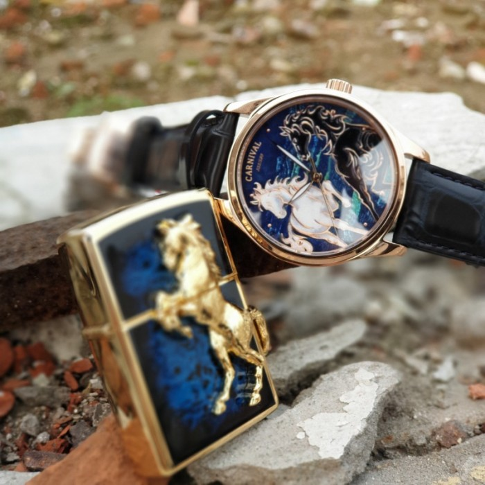 Set Đồng hồ và Zippo ngựa chính hãng, sự kết hợp hoàn hảo0