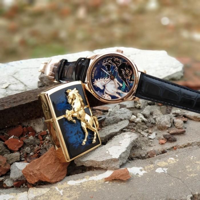 Set Đồng hồ và Zippo ngựa chính hãng, sự kết hợp hoàn hảo1
