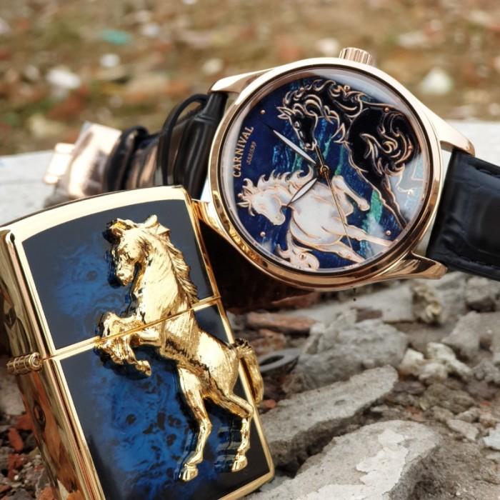 Set Đồng hồ và Zippo ngựa chính hãng, sự kết hợp hoàn hảo7