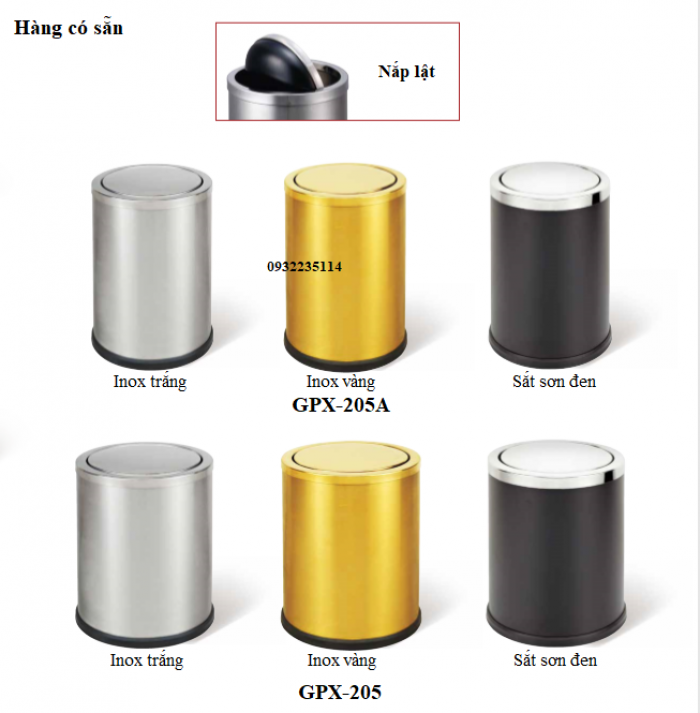 Thông tin sản phẩm - Mã sản phẩm: GPX-205 - Kích thước: Ф245*295 mm - Cấu tạo: Hình trụ tròn, 1 lớp, 1 nắp có thể tháo rời, nắp lật ( bập bênh) - Chất liệu: Thân thép sơn tĩnh điện, nắp inox trắng bạc, Chân đến cao su chống gỉ trong môi trường nước, tăng ma sát chống trơn trượt - Nắp inox ngăn mùi hiệu quả, tự động cân bằng và đóng kín sau khi bỏ rác vào thùng - Màu sắc: đen, trắng bạc, trắng xước, vàng gold - Giá bán lẻ 400,000 VNĐ 3