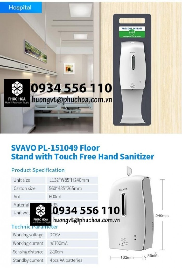 Bình nước rửa tay cảm ứng xịt khử khuẩn di động4