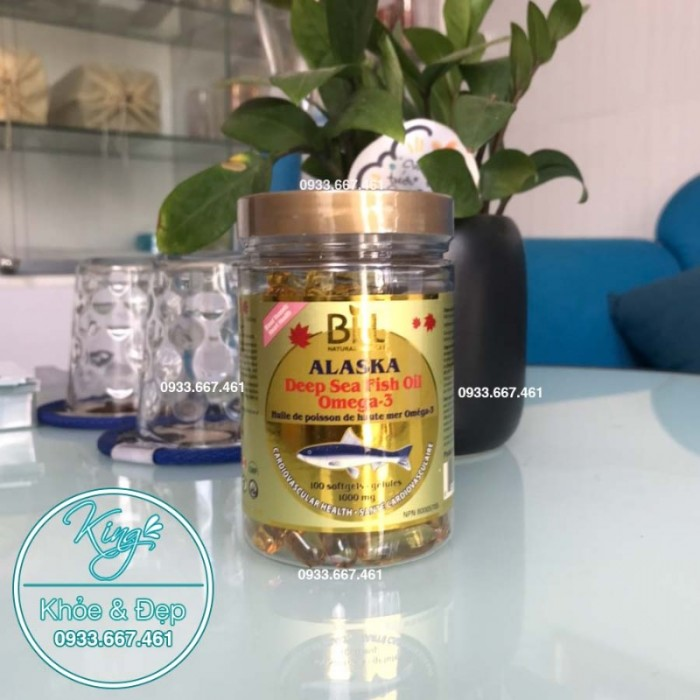 Dầu Cá Hồi Số 1 ALASKA, Deep Sea Fish Oil Omega-3 1000mg (Bill Natural Sources)