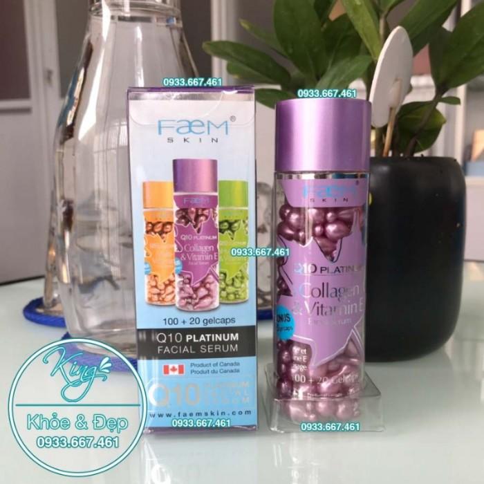 Viên Bôi Q10 Platinum Collagen & Vitamin E Facial Serum 120 Viên0
