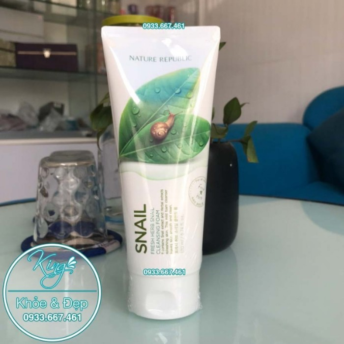 Sửa Rửa Mặt Nature Republic Snail Fresh Herb Snail Cleansing Foam1