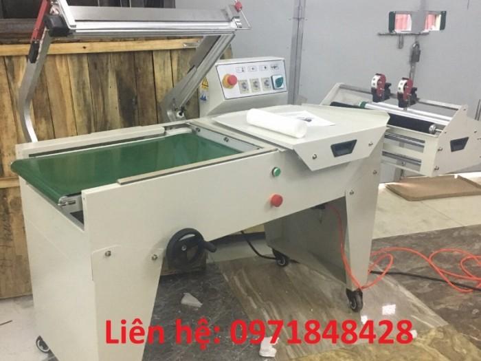 Máy cắt dán màng co FQL450, máy đóng gói màng co, máy cắt dán màng bọc hộp bánh kẹo, gia vị,..2