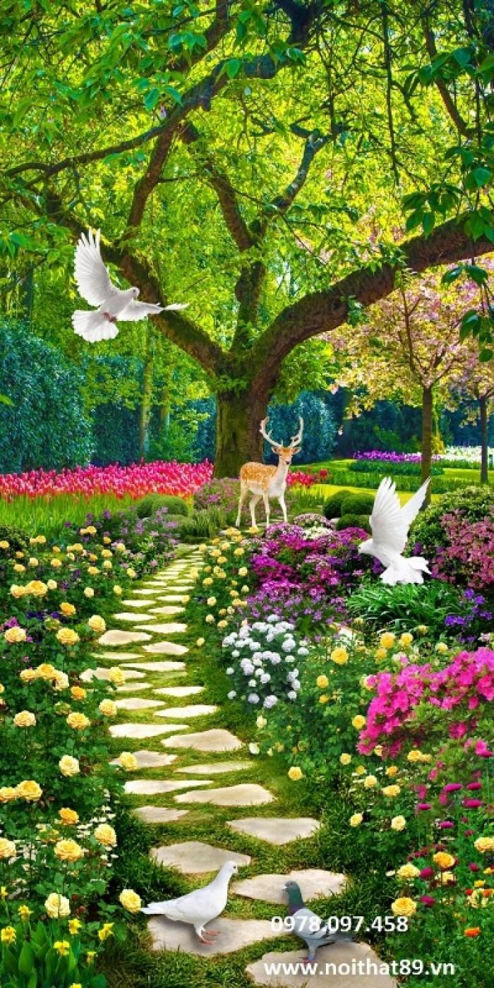 tranh gạch vườn hoa công viên1