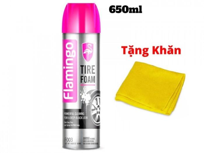 Làm Sạch Lốp Dưỡng Nhựa Nhám 2 Trong 1 Flamingo TIRE FOAM 650ml Kèm Khăn