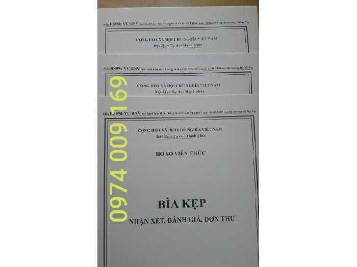 Bộ 3 bìa kẹp hồ sơ viên chức0