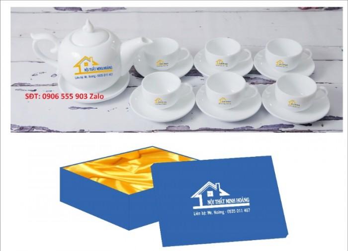 Xưởng sản xuất in ấn bộ ấm trà in logo Hồ Chí Minh, Bộ ấm chén in logo HCM0