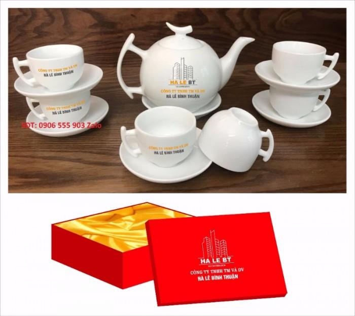 Xưởng sản xuất in ấn bộ ấm trà in logo Hồ Chí Minh, Bộ ấm chén in logo HCM4