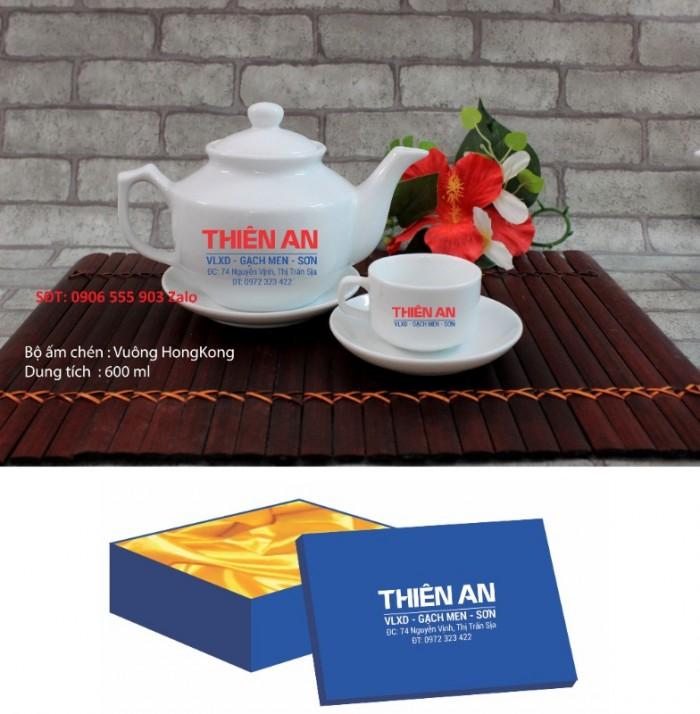 Xưởng sản xuất in ấn bộ ấm trà in logo Hồ Chí Minh, Bộ ấm chén in logo HCM6