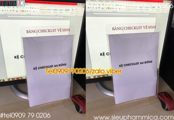Bảng checklist mica, hộp checklist treo tường, Kệ checklist khổ A44