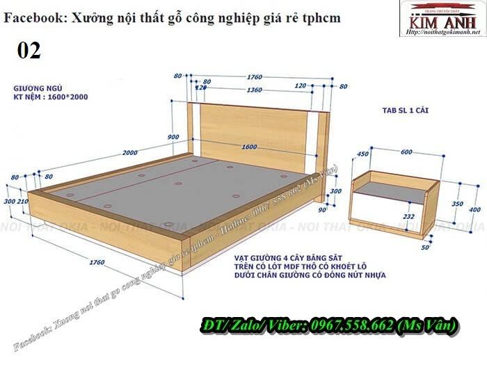 kích thước giường ngủ gỗ công nghiệp đẹp6