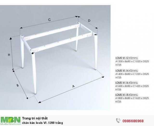 Chân bàn louis VI -1200 trắng3