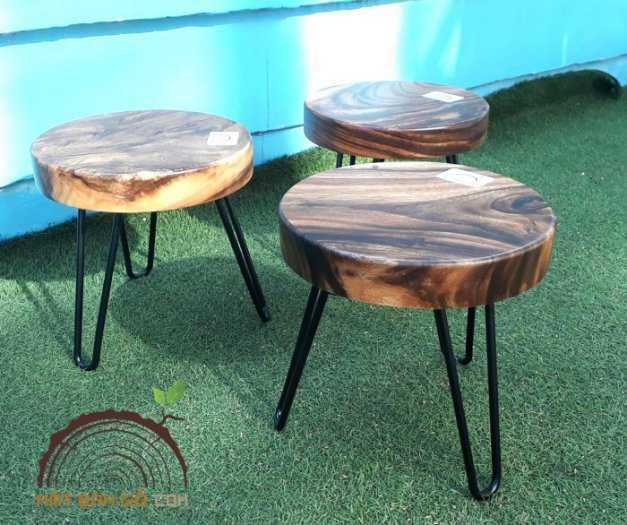 Ghế đẩu mặt gỗ me tây 012