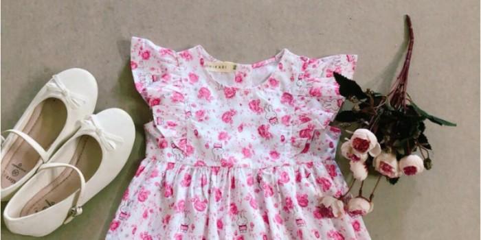 Đầm bé gái hoa nhí thỏ hồng tay cánh tiên D05-THOHONG0