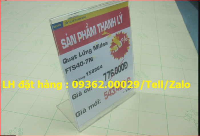 Cung cấp bảng mica để giá sản phẩm theo yêu cầu