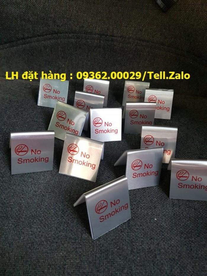 Biển báo cấm hút thuốc bằng mica, inox , đồng treo tường hoặc để bàn2