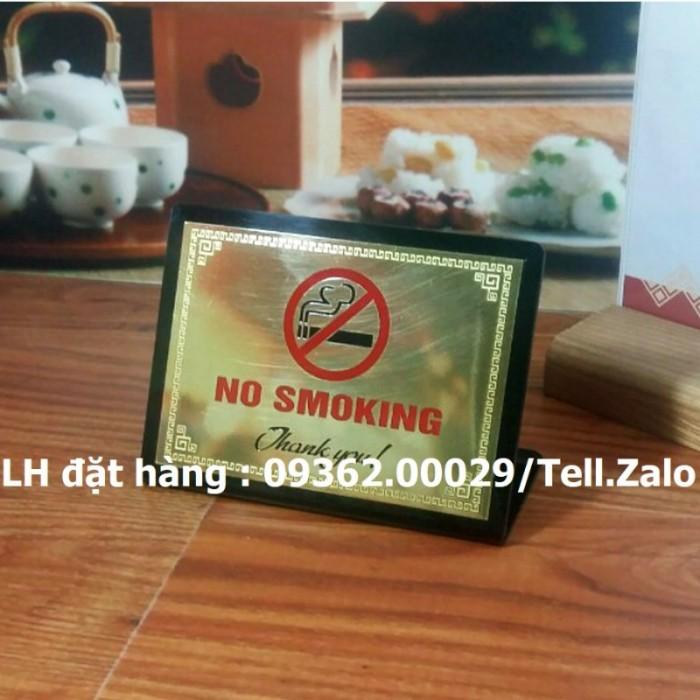 Biển báo cấm hút thuốc bằng mica, inox , đồng treo tường hoặc để bàn10