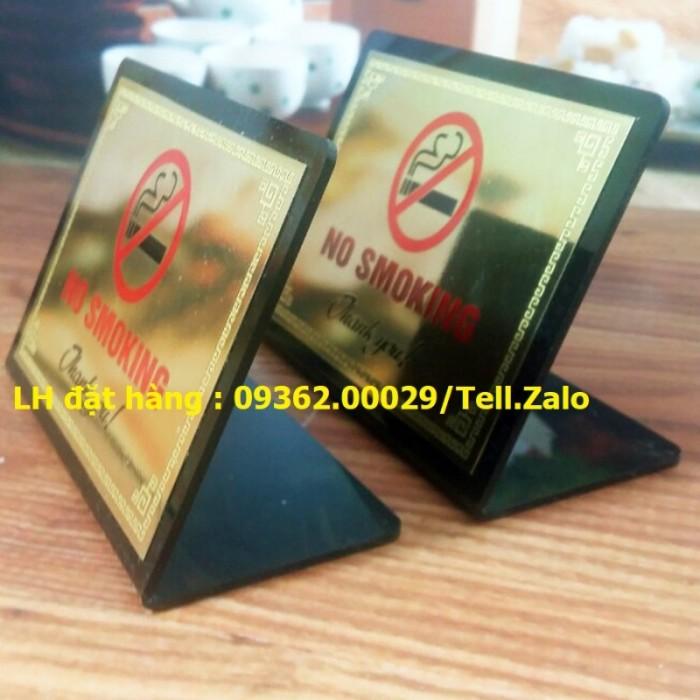 Biển báo cấm hút thuốc bằng mica, inox , đồng treo tường hoặc để bàn