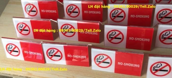 Biển báo cấm hút thuốc bằng mica, inox , đồng treo tường hoặc để bàn6
