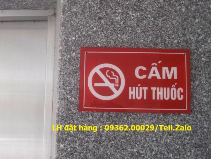 Biển báo cấm hút thuốc bằng mica, inox , đồng treo tường hoặc để bàn8