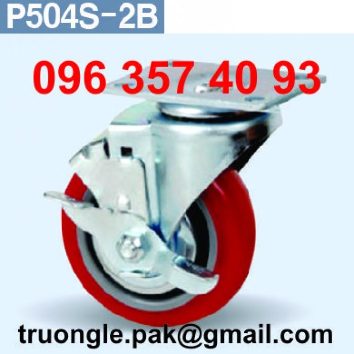 Bánh xe xoay mặt bít (bích) có khóa P504S-2B. Sản phẩm của GS.ACE. Đường kính bánh xe: 4'' (inch). Mặt tiếp xúc bánh xe với mặt đất: 32 mm. Cân nặng chống chịu: 105 kg. Chiều cao bánh xe: 128 mm so với mặt đất. Bánh xe xoay mặt bít (bích) có khóa P504S-2B được dùng trong bàn thao tác, xe đẩy hàng...0