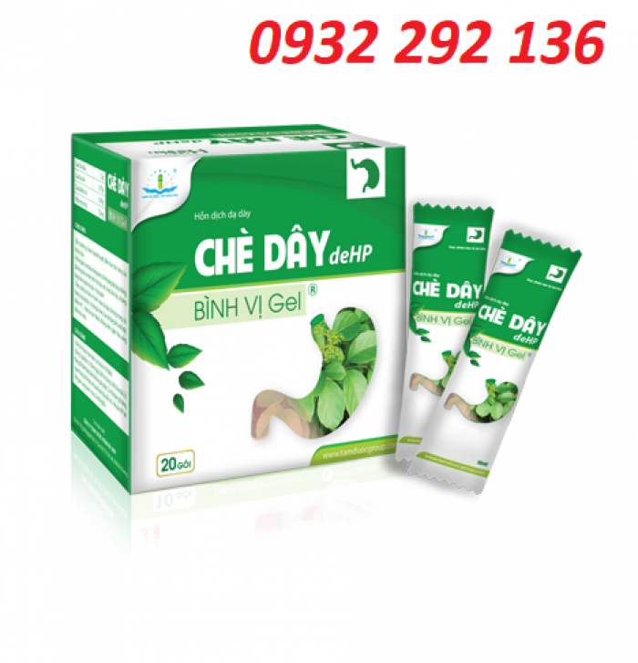 Chè Dây DeHP Bình vị có tác dụng giúp ổn định tiêu hóa, giảm viêm loét dạ dày, tá tràng. Hộp 20 gói. Giá bán: 137.000đ/ hộp. ĐT: 0932 292 136 0