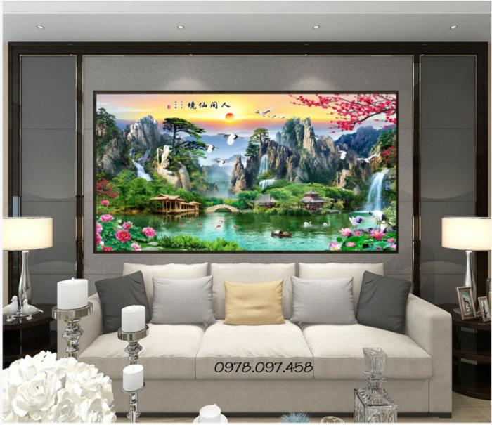 tranh đẹp trang trí phòng khách mẫu sơn thủy hữu tình7