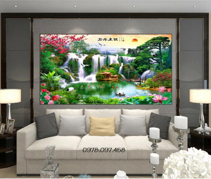 Gạch tranh 3d phong cảnh đẹp trang trí phòng khách3