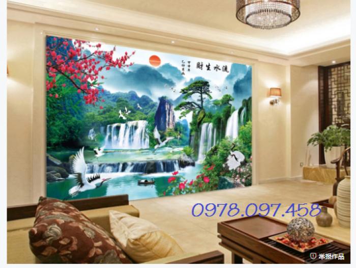 gạch tranh 3d sơn thủy hữu tình trang trí phòng khách9