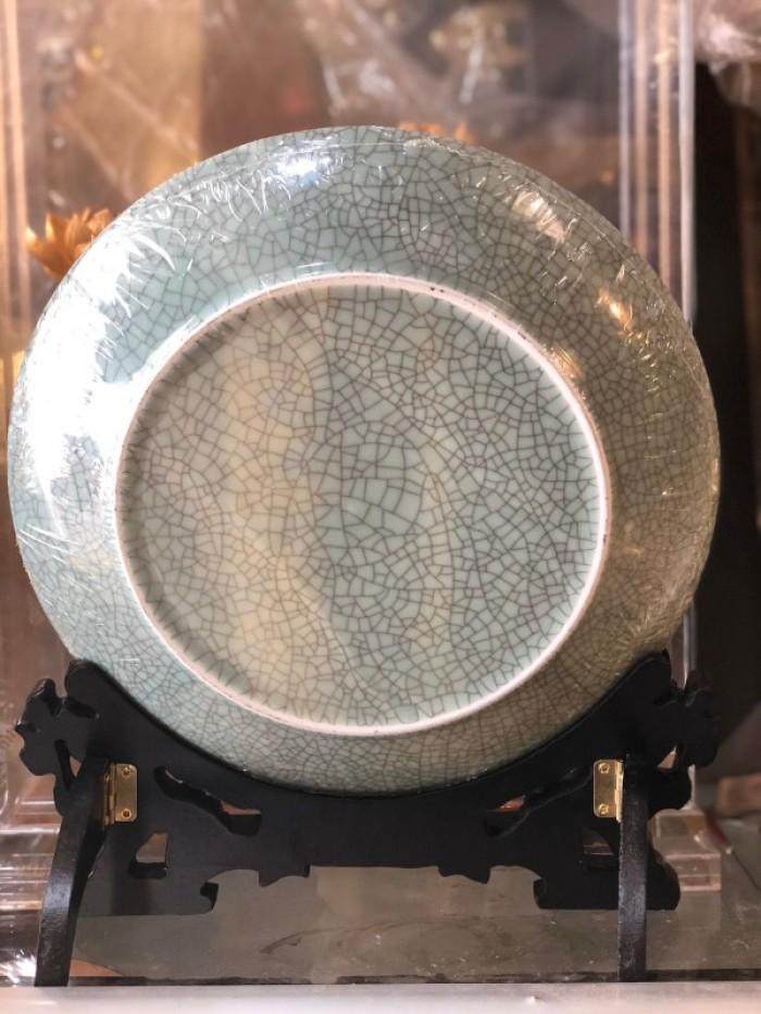 Đĩa cá chép mạ vàng 24k,nền gốm2