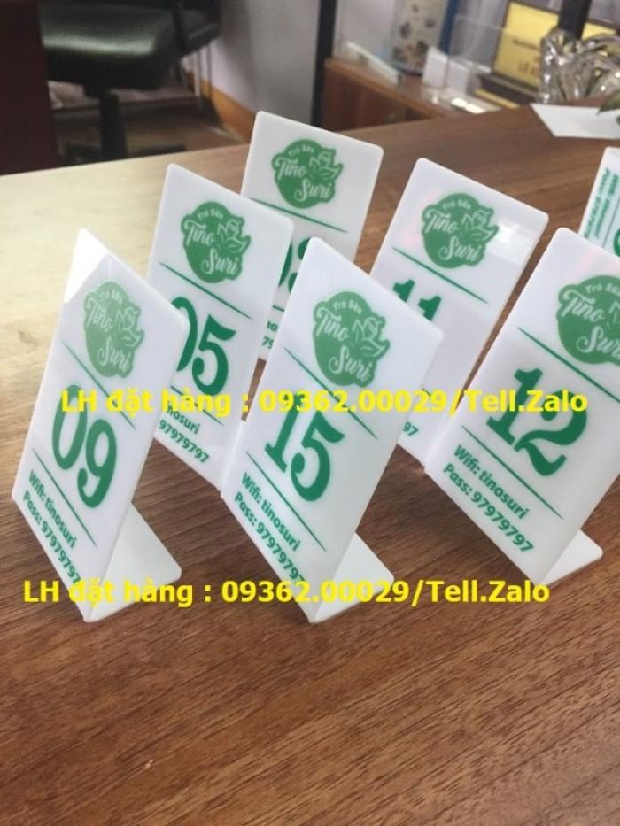 Thẻ số bàn mica order cho quán café , trà sữa