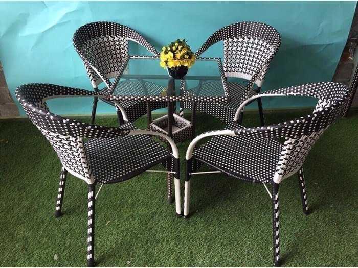 Bàn ghế cafe nhựa giả mây giá rẽ - nội thất Nguyễn hoàng1